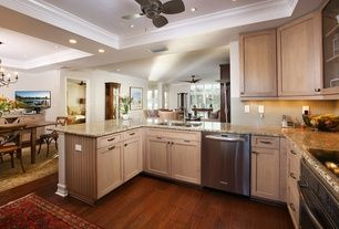 Traditional Kitchen With MS International Amber Yellow Granite Countertop,  Chobi Meshed Mocha Oriental Rug, Hardwood Floors