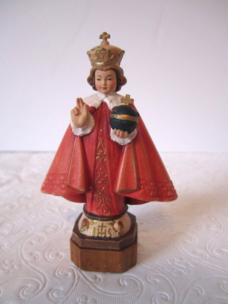 Toriart Infant Of Prague Carved Wood Hand Painted Italy