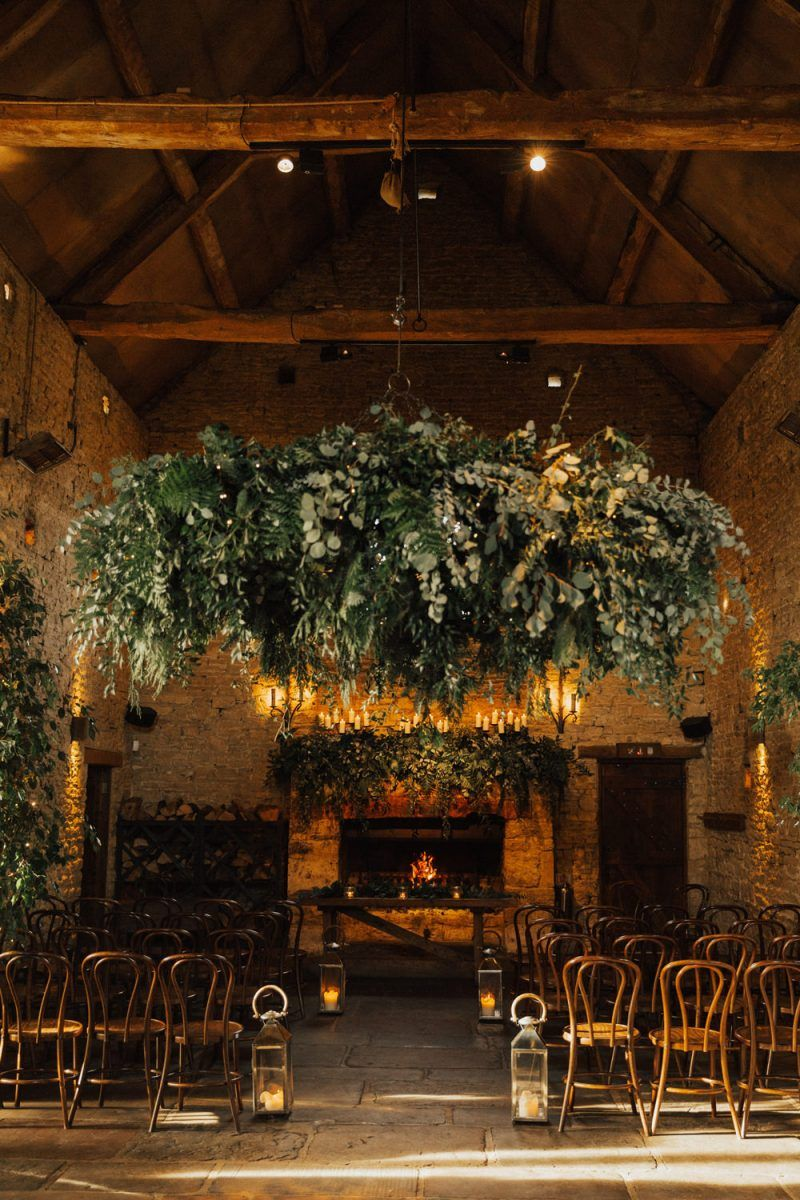 Hanging Foliage Chandelier and Lantern Candles for
