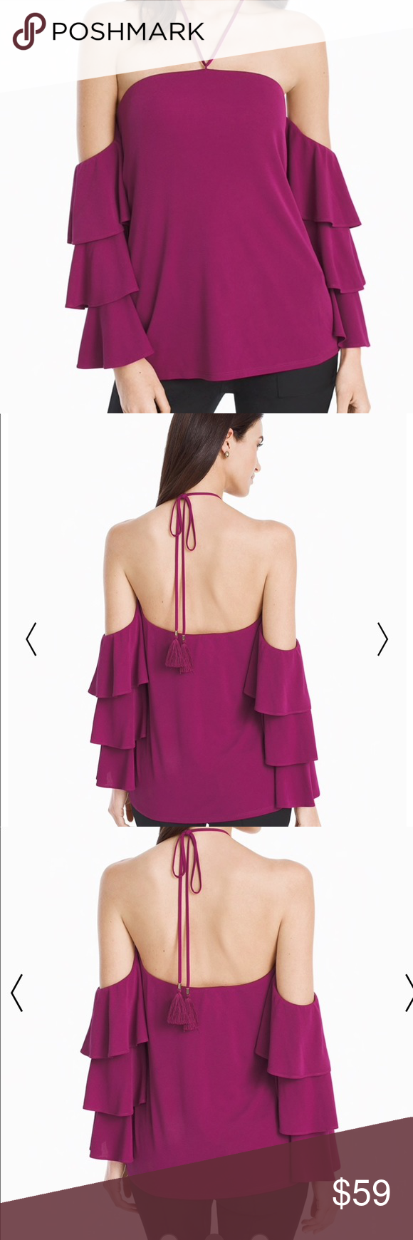 ddd409d770d White House Black Market off shoulder top, berry Off the shoulder top  featuring 3/4 length tiered sleeves and a halter tie with tassels.