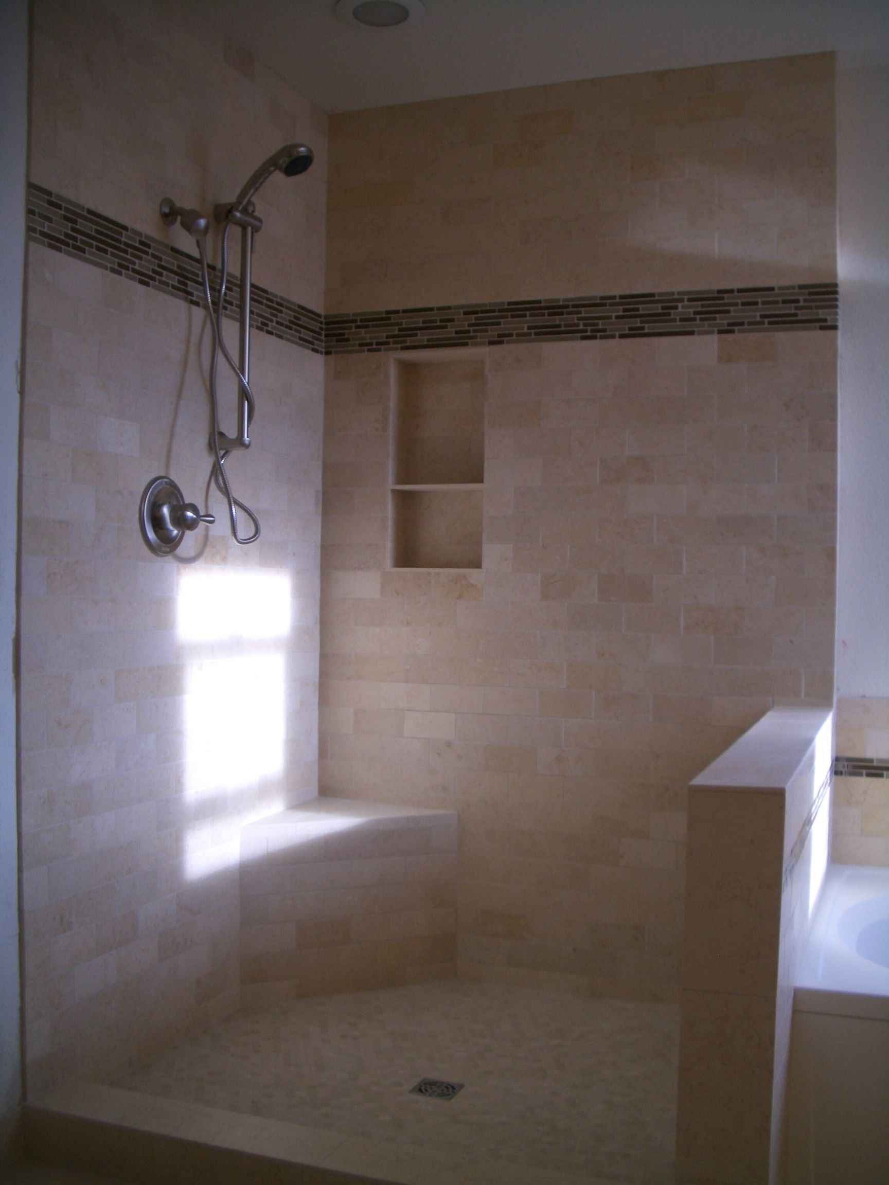 Pic On Wonderful Beige Color Glass Stainless Unique Design Rectangular Travertine Tile Be Equipped Stainless Shower Wall Glass At Bathroom With Travertine Tile