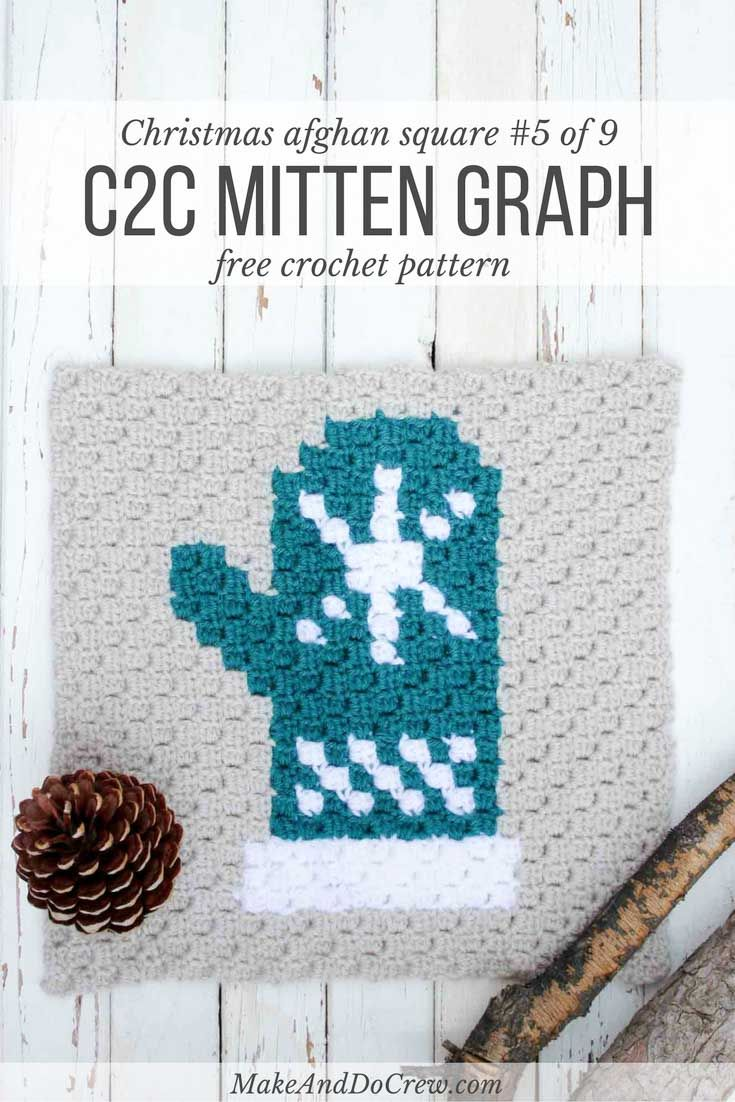 Mitten C2C Crochet Afghan Graph - Free Pattern | Colchas