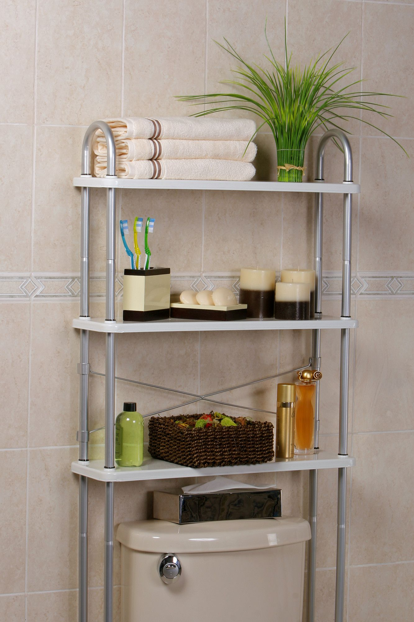 Features: -3 Solid metal shelves to organize all your bathroom needs ...