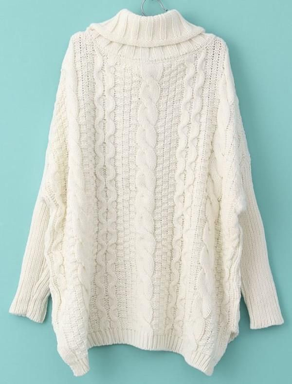 de2e46e66ed6 White Turtleneck Sweater with Cable Knit Design and Split Sides. Perfect  trendy fall winter sweater. Turtleneck Chunky Cable Knit Sweater.