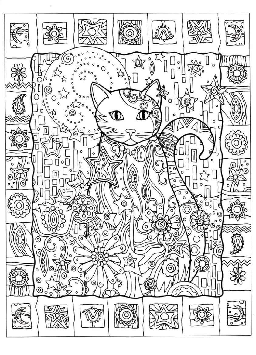 Cat Abstract Doodle Zentangle ZenDoodle Paisley Coloring Pages Colouring Adult Detailed Advanced Printable Kleuren Voor Volwassenen Coloriage Pour Adulte
