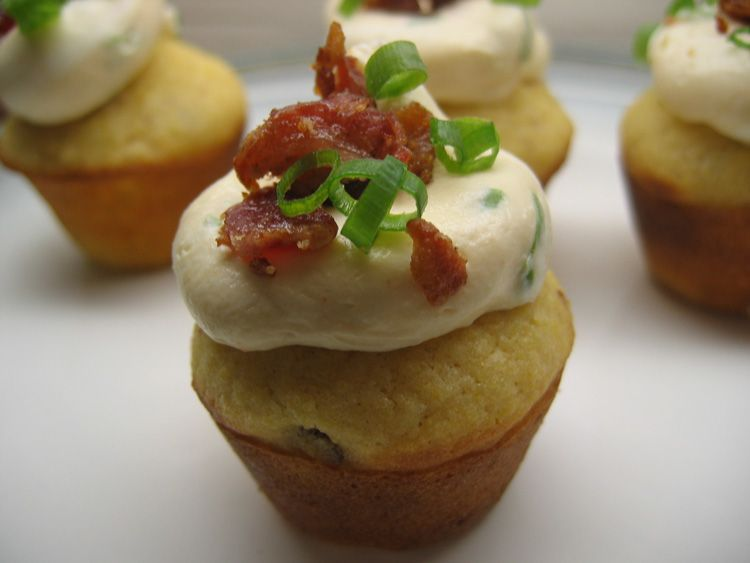 Bacon Corn Muffins with Savory Cream Cheese Frosting.
