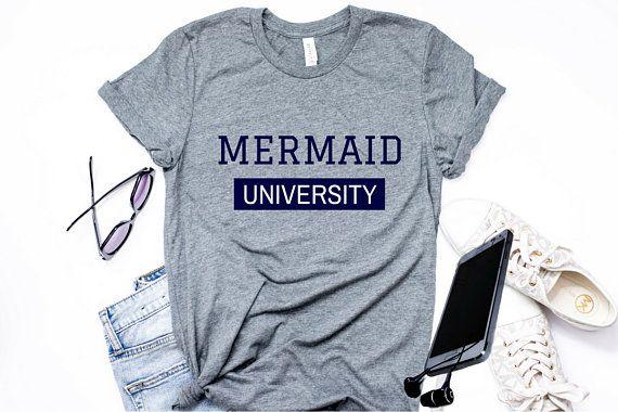 b5cef7a28 Mermaid Shirt Mermaid Academy T-Shirt Ladies Beach T-shirt Summer Shirt  Cute Mermaid T-shirt Mermaid