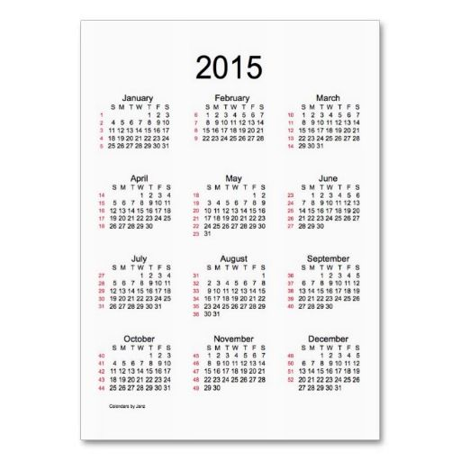 Business calendars 2015 selowithjo 52 week calendar 2015 business cards holidays by janz pod accmission Images