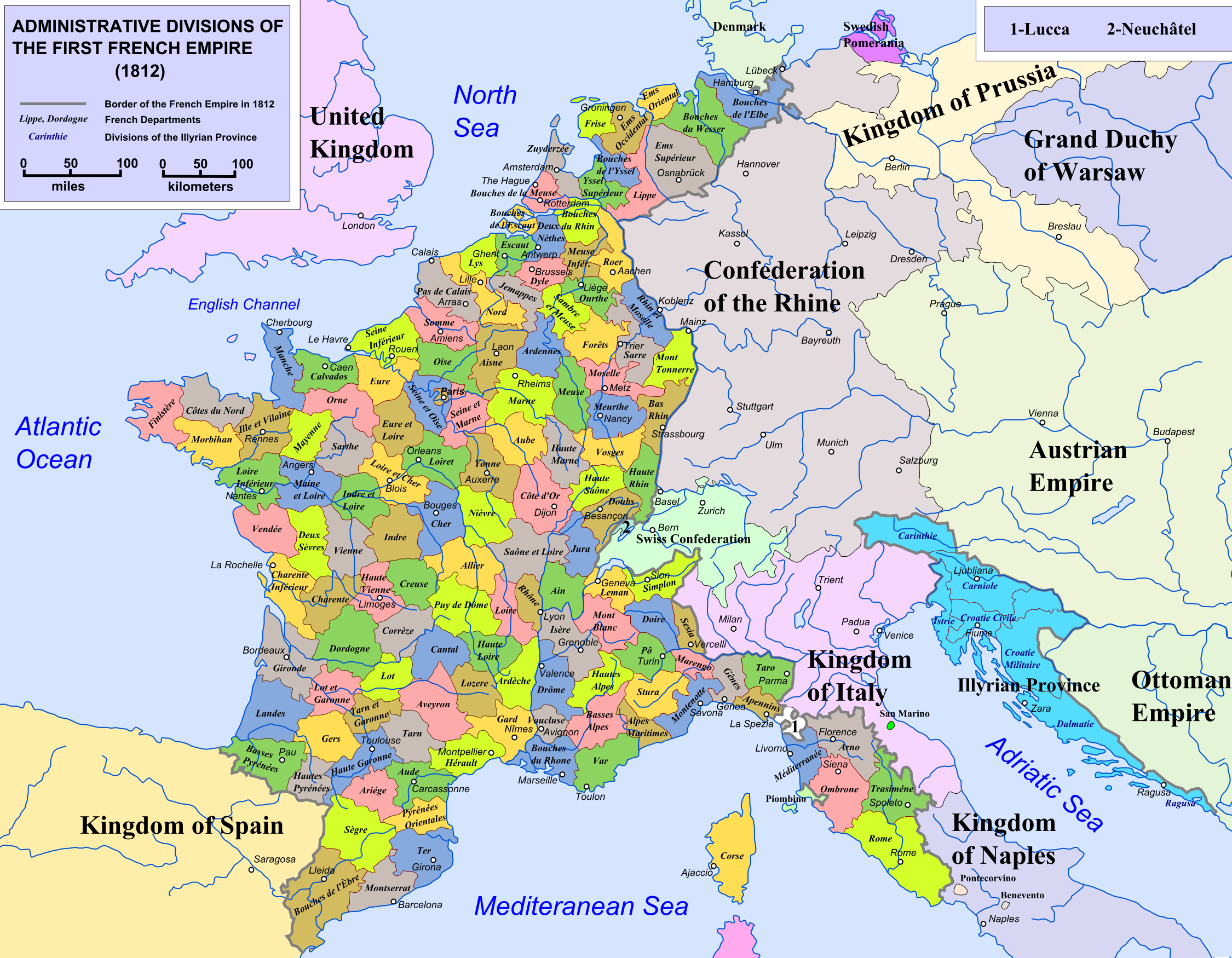 A fascinating map of the numerous divisions of the french empire in a fascinating map of the numerous divisions of the french empire in 1812 gumiabroncs Gallery