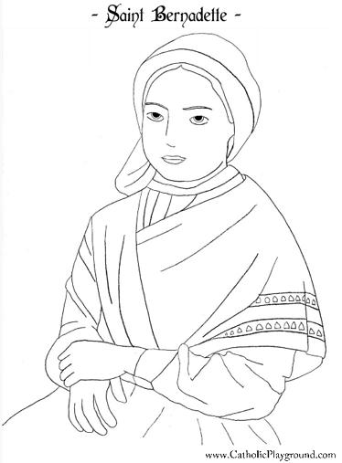 Saint Bernadette Catholic Coloring Page For Kids Feast