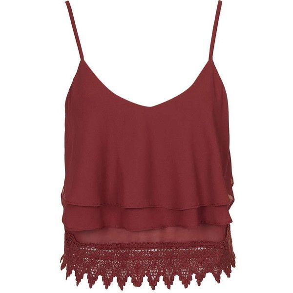 595722b6d3019e TOPSHOP **Crochet Cropped Cami Top by Glamorous Petites ($30) ❤ liked on Polyvore  featuring tops, petite, rust, red tank, crochet top, crochet crop top, ...