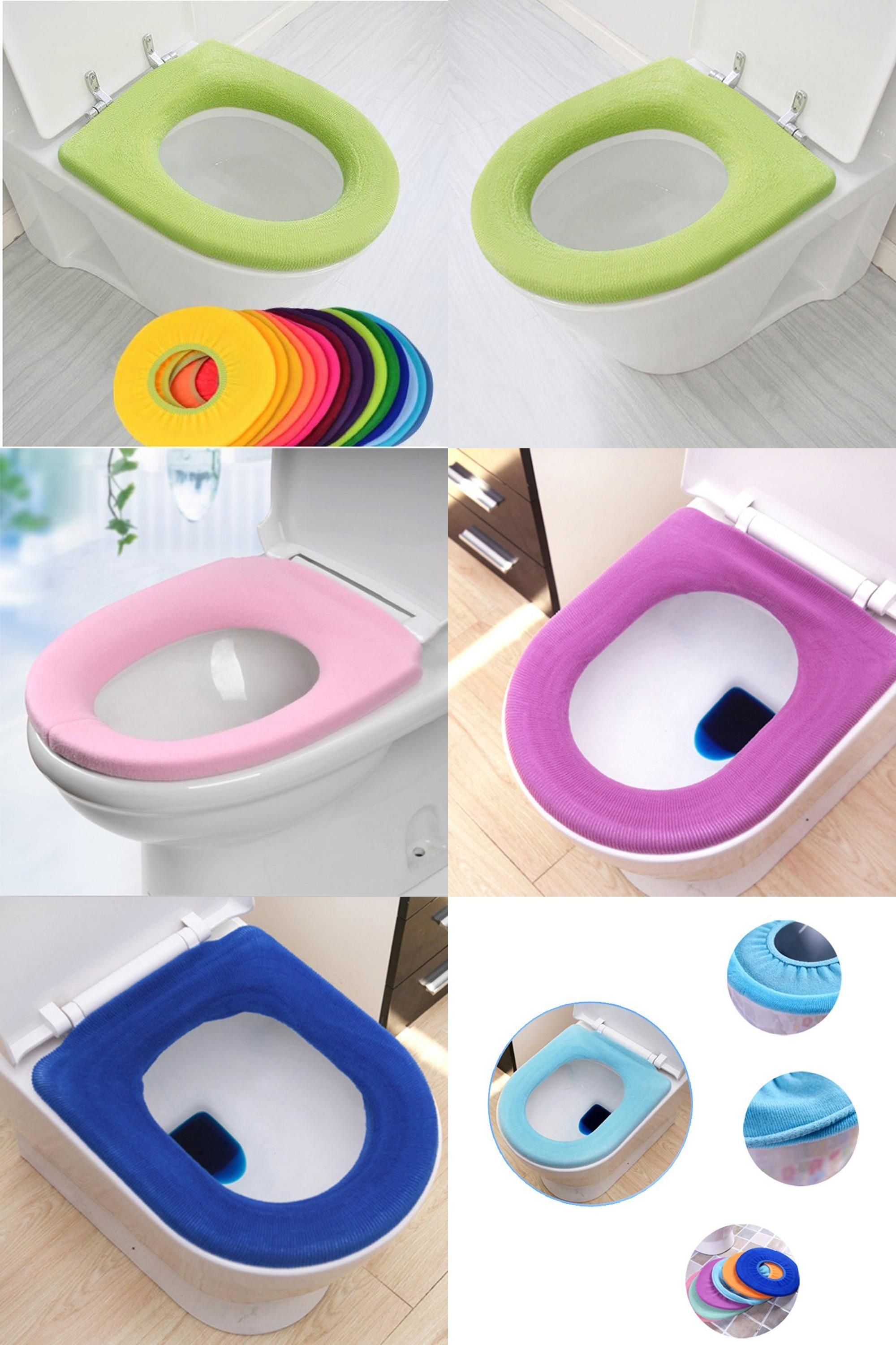 Visit To Buy Random Color Comfortable Toilet Seat Cover For Bathroom Products Pedestal Pan Cushion Pads Lycra Use Toilet Seat Cover Cushion Pads Toilet Seat