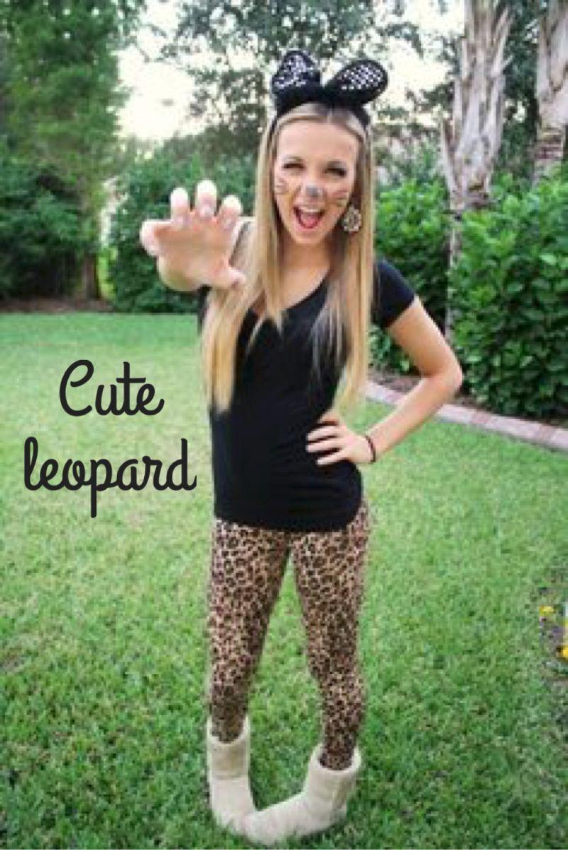 Cat or leopard costume with leopard/cheetah leggings | Hallowe'en ...