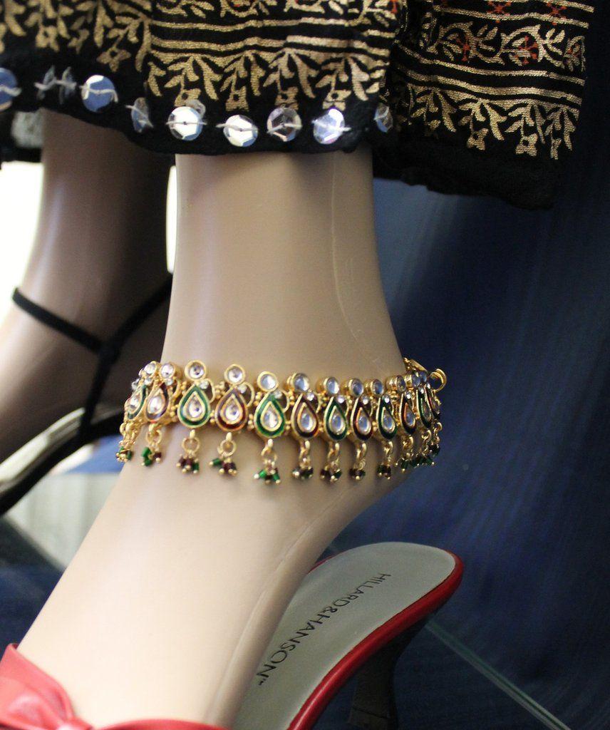 Anklet Payal 3110 Golden Anklet Indian Payal Shieno Sarees