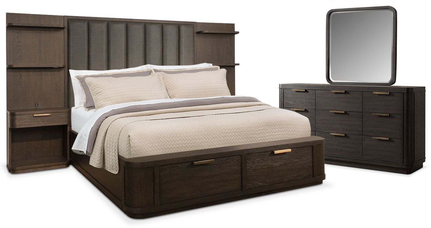 Bedroom Furniture - Malibu 5-Piece Queen Tall Upholstered Wall ...