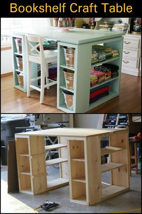 How To Build A Craft Table From Bookshelves