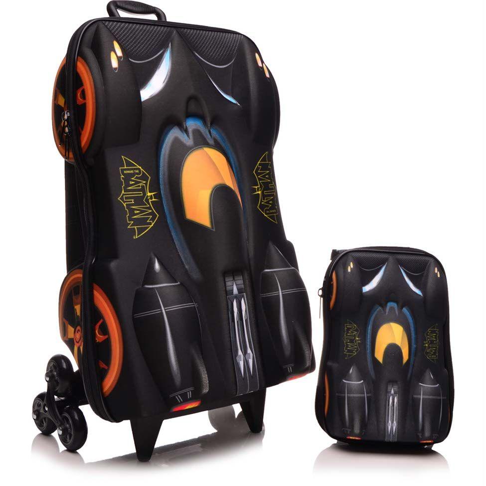 Kit Mochilete + Mochila P Batman Beware Preta e Amarela Max Toy