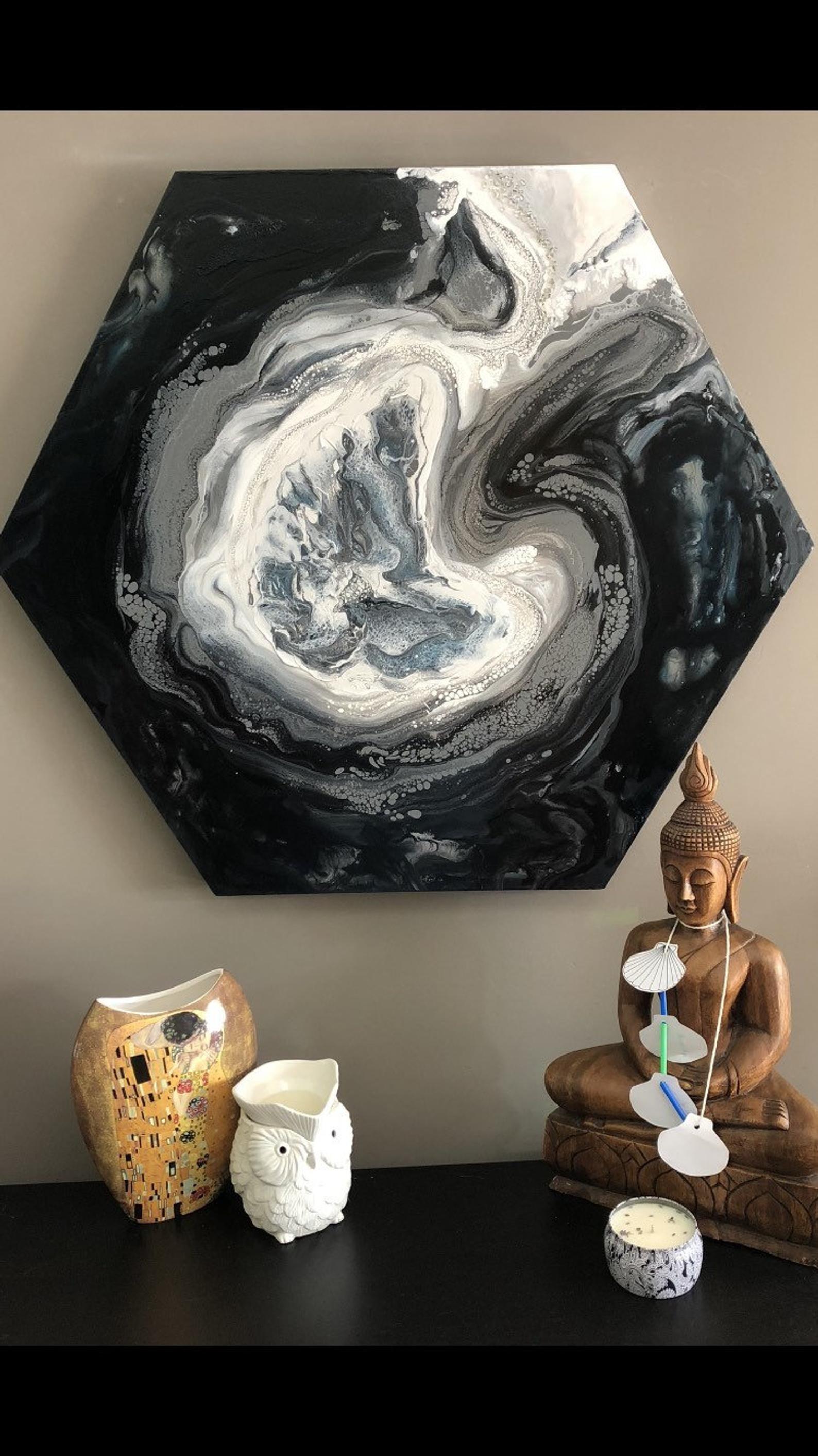 Comment Faire De La Peinture Acrylique Fluide : comment, faire, peinture, acrylique, fluide, Grande, Peinture, Abstraite, Hexagonale, Toile, Oeuvre, Abstraite,, Acrylique