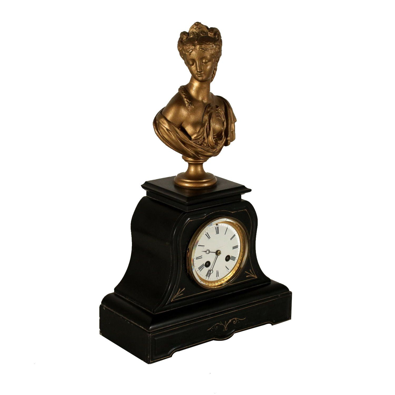 Uhr 19 Jahrhundert Schwarzer Marmor Antike Uhren Uhr