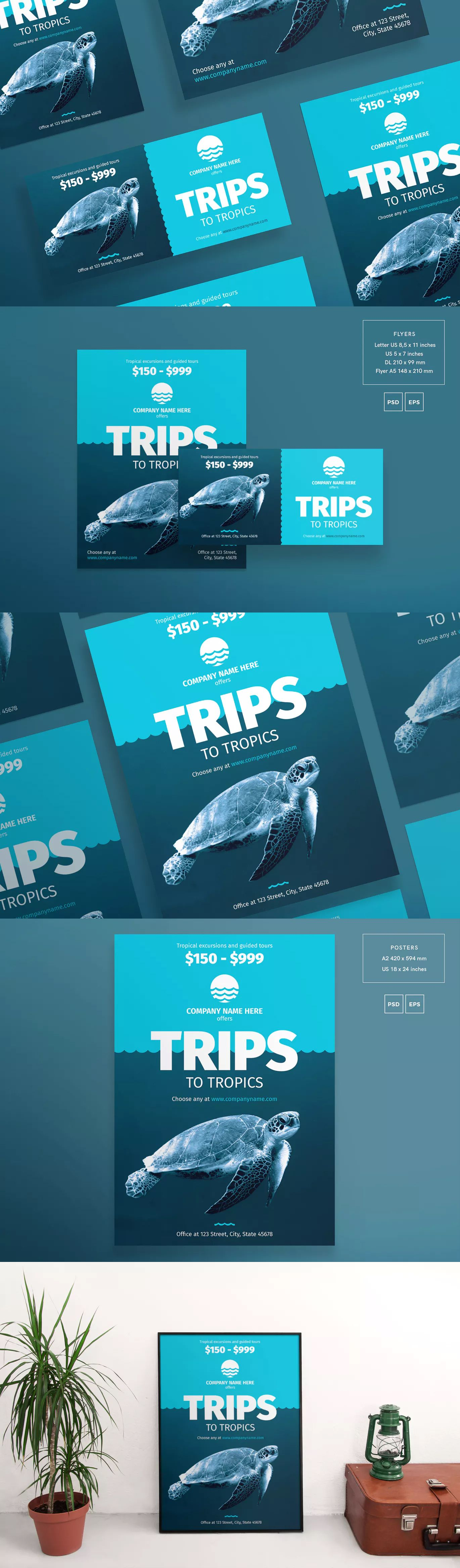 travel agency flyer and poster template eps psd 4 flyer formats