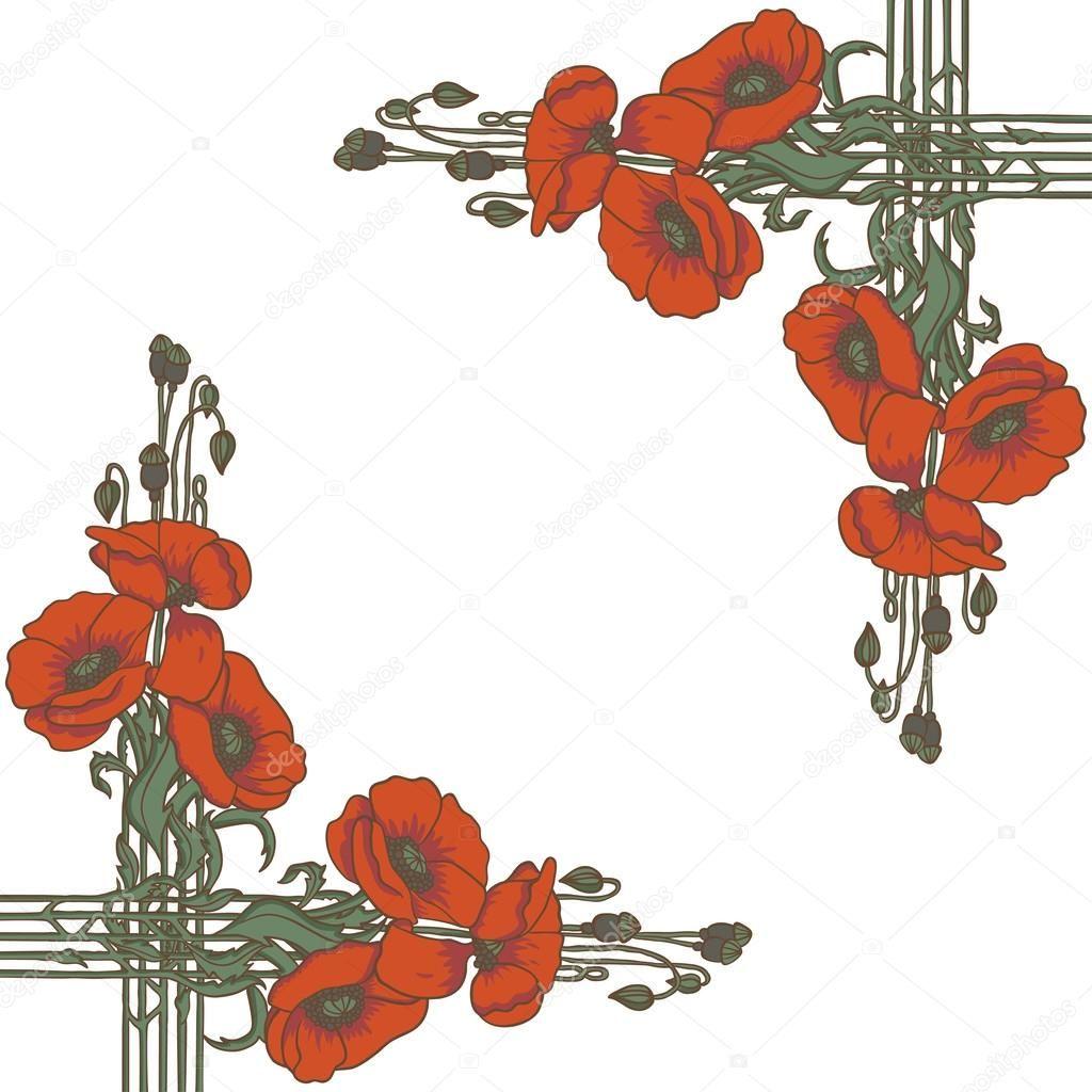 Art Nouveau Inspired California Poppy By Mason Larose: Art-nouveau Style Frame With Poppies