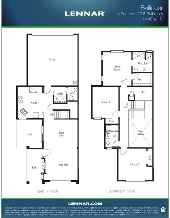 The ballinger townhome 1448 square feet with 3 bedrooms Two bedroom townhouse plans