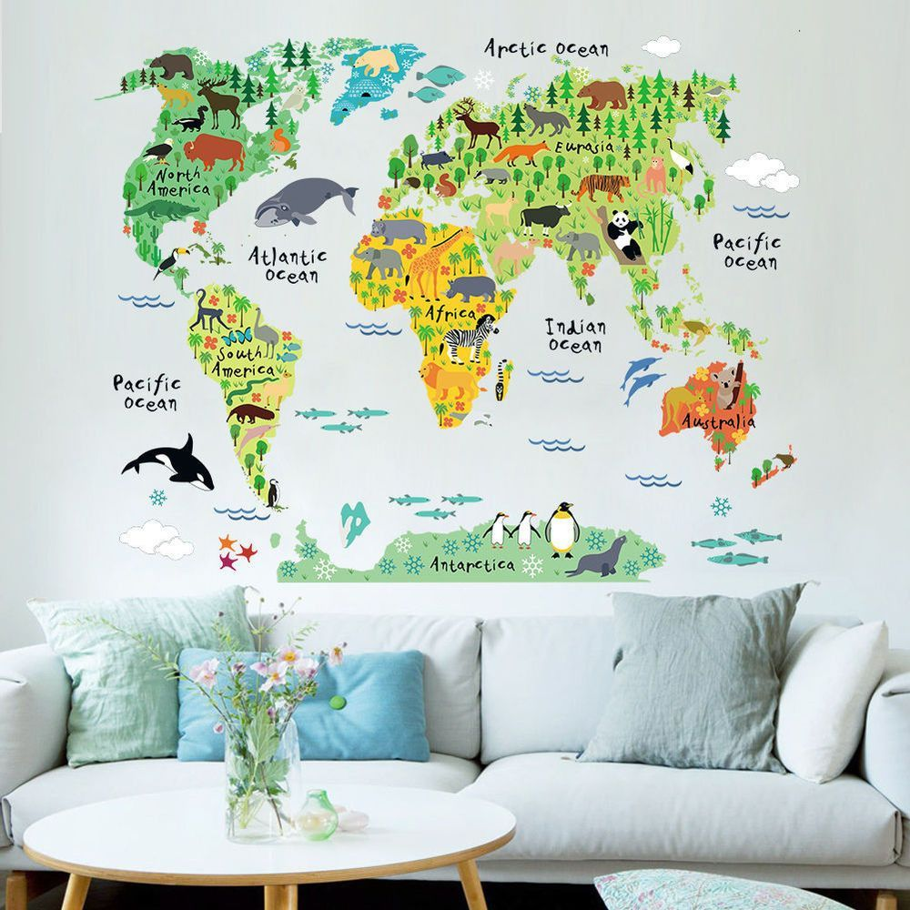 Murals World Map Country Cartoon Typical Animals Jungle Removable Nursery  Wall Art Decor Peel U0026 Stick Decals Stickers For Kids Playroom Decor  Kindergarden ...