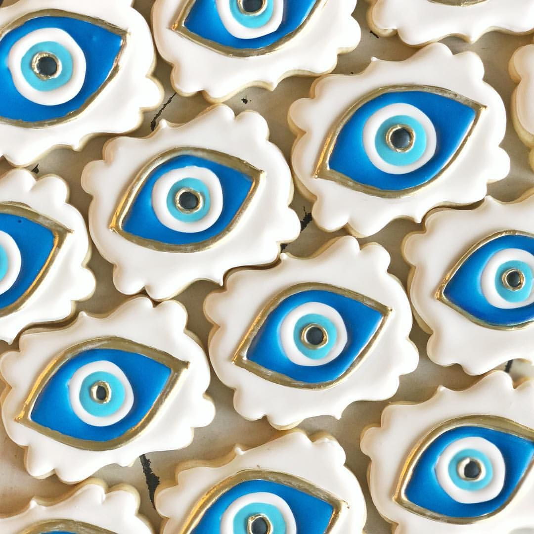 Evil Eye Cookies For A Greek Birthday Happy Friday
