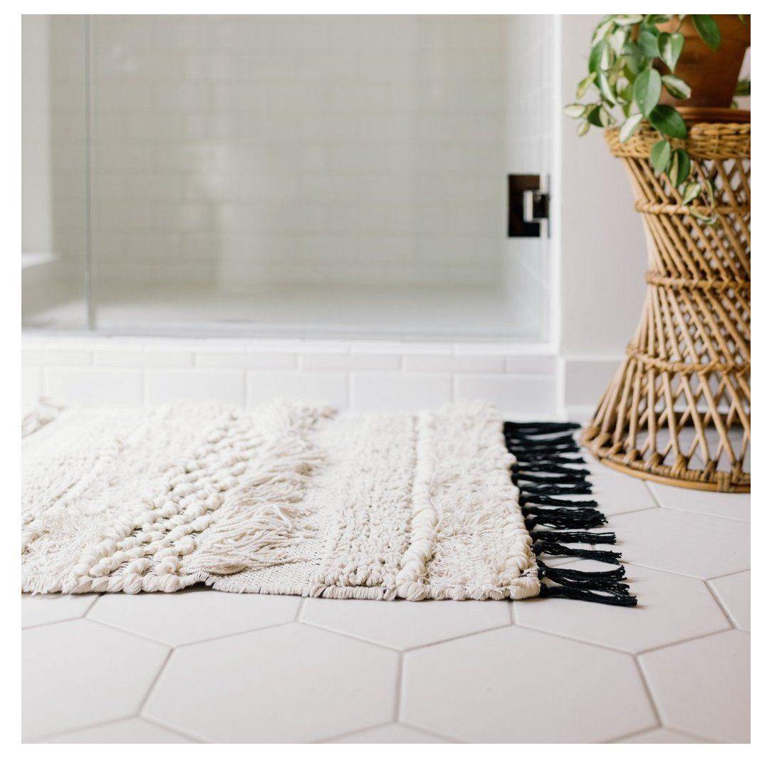 Knot Weave Bath Mat Farmhouse Bathroom Rugs Bath Mats Farmhousebathroomrugsbathmats Make A Cold Bathroom F In 2021 Modern Bath Mat Bath Rugs Bathroom Floor Mat