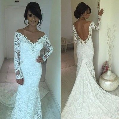 H267 off the shoulder long sleeve lace wedding dress sexy open back ...