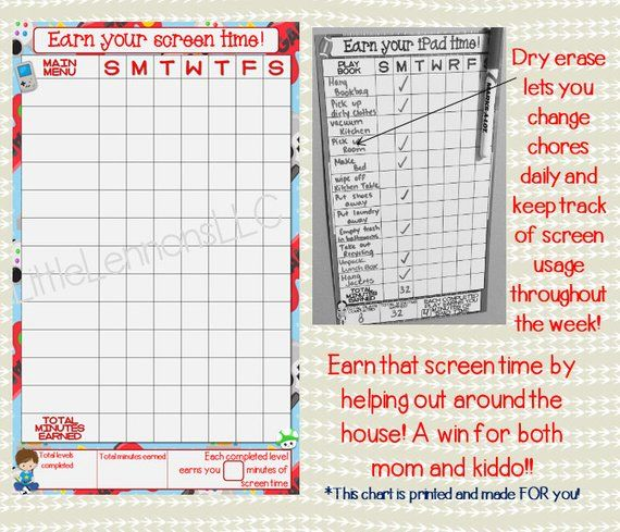Gamer earn your screen time dry erase chore chart for use with a