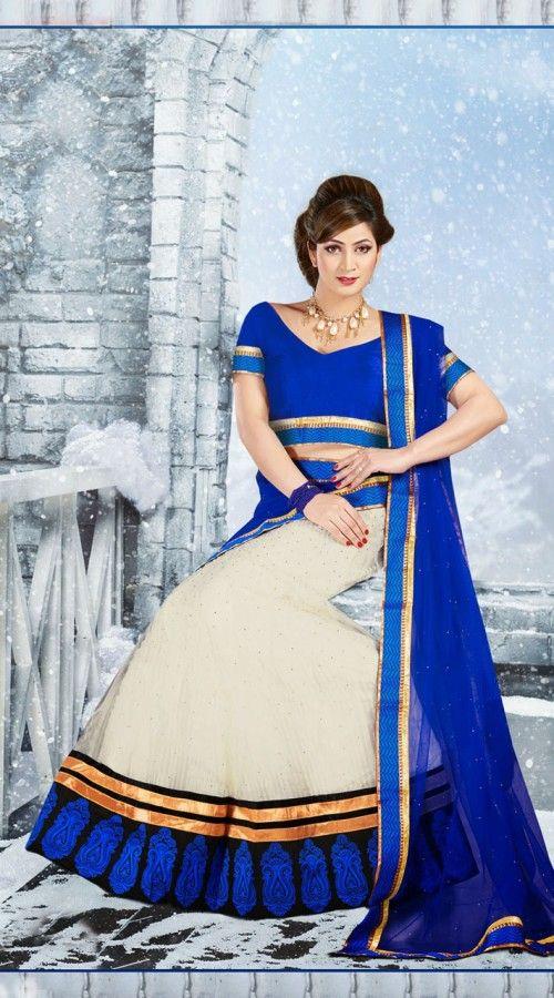 Stunning Off White Net Lehenga Choli 2FD3056845