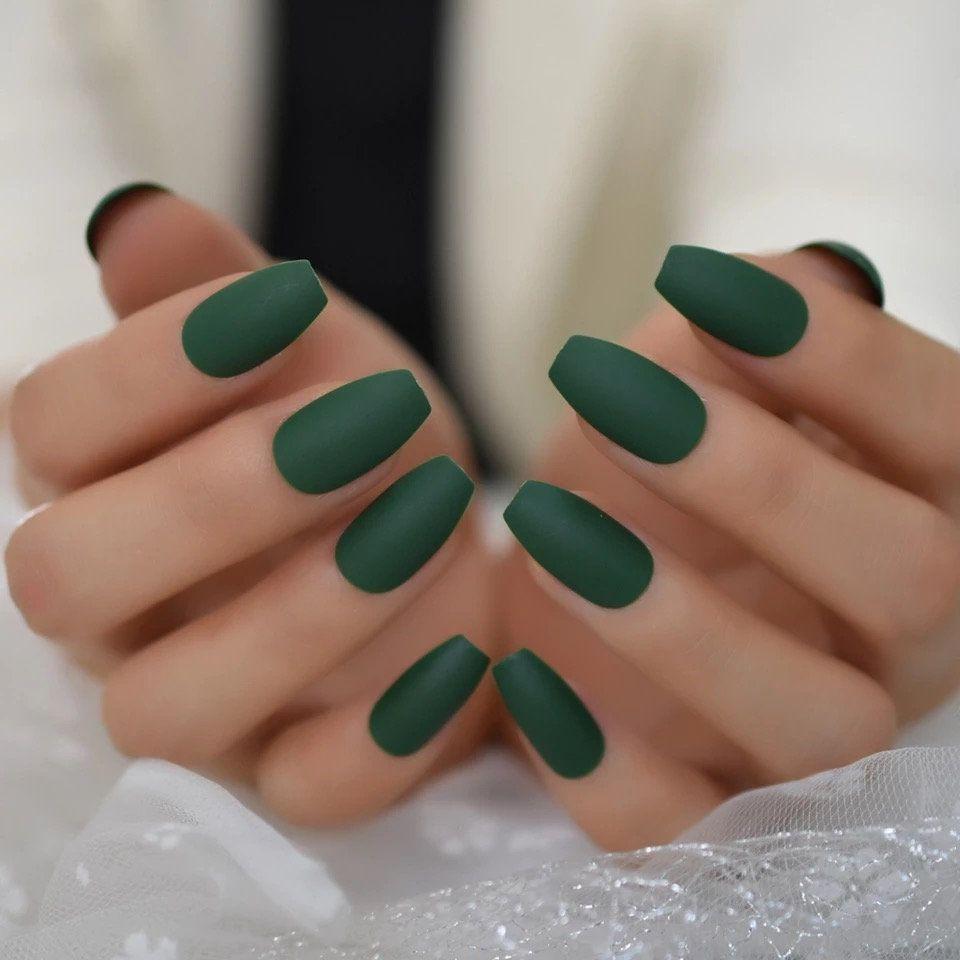 Ballerina Coffin Fake Nails Matte Green Flat Pree On False Nail Tips Daily Wear Faux Ongle Free In 2020 Green Acrylic Nails Fake Nails Green Nails
