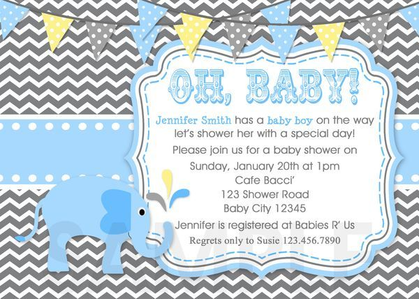 elephant baby shower invitations Elephant Chevron Baby Boy