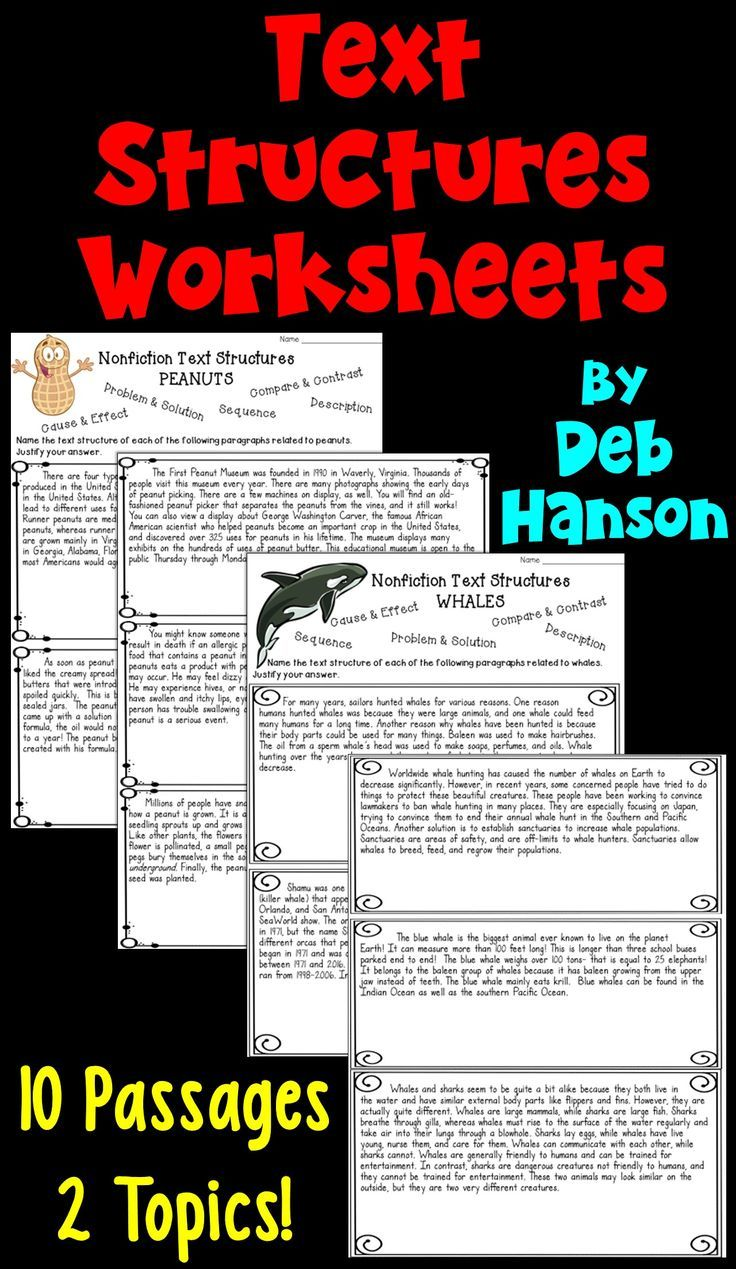Nonfiction Text Structures: 2 Worksheets   PDF and Digital   Distance  Learning   Text structure worksheets [ 1269 x 736 Pixel ]