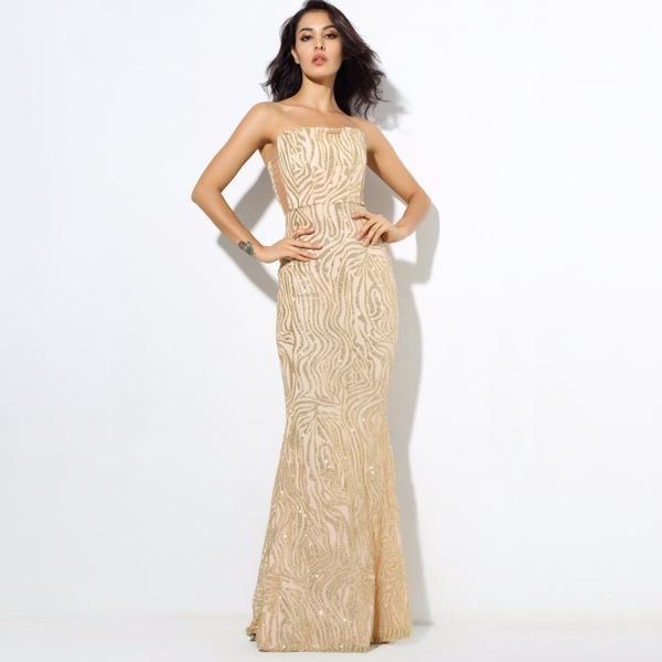 Gold Tube Wedding Prom Maxi Dress   Popviva   Dresses   Pinterest ...