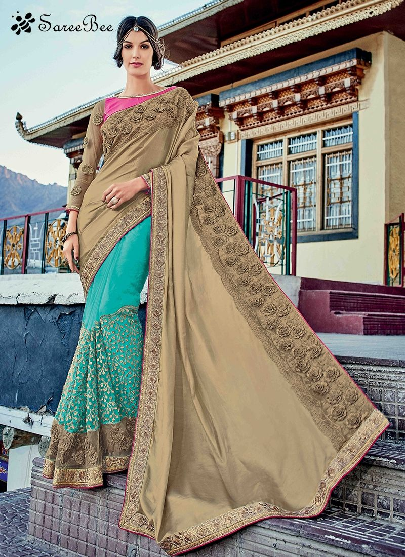Staring Beige And Blue Resham Work Faux Georgette Half N Half Designer Saree