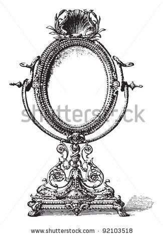 Old Mirror Drawing | Hand Mirror Clip Art | craft room ... Vintage Hand Mirror Clipart