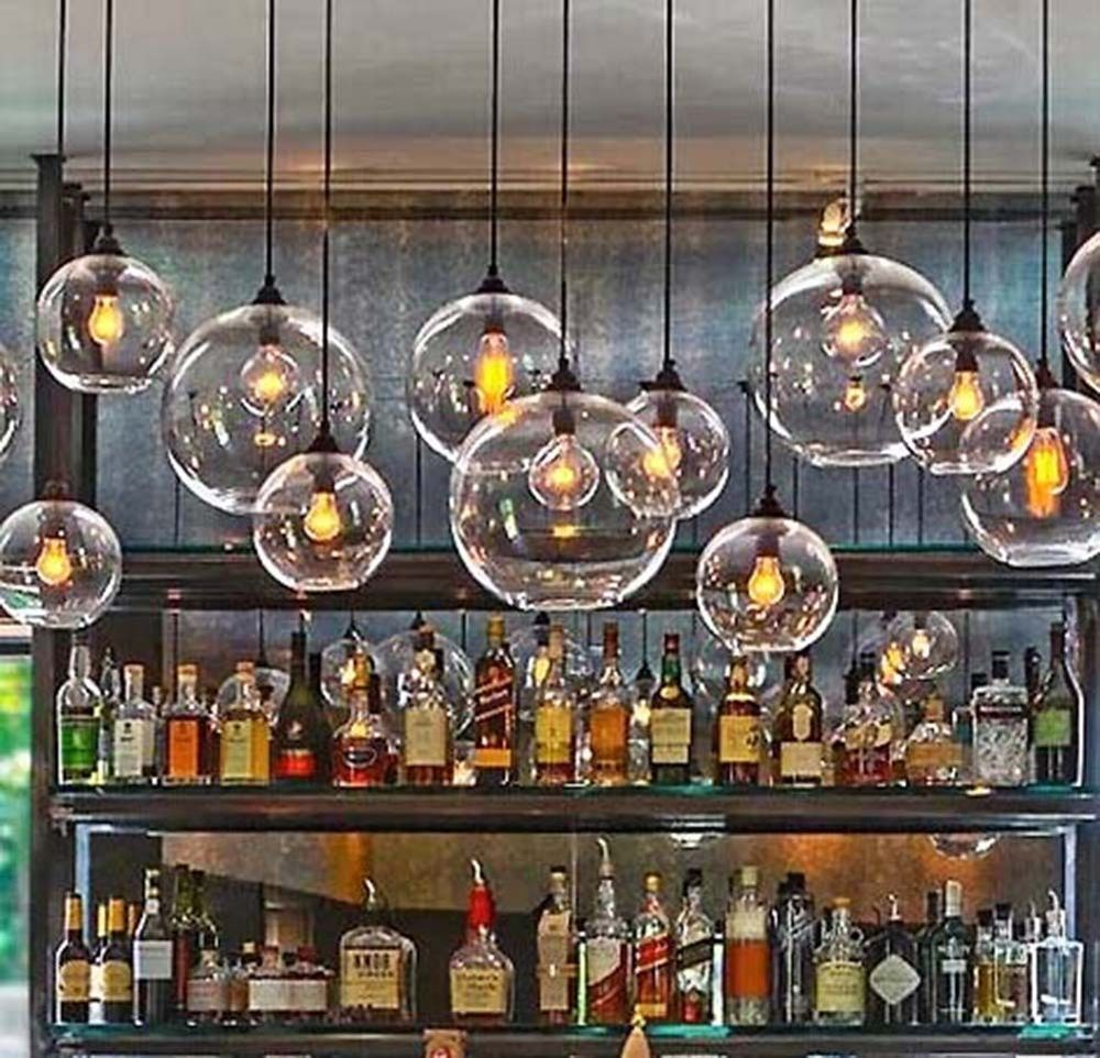 Retro Industrial Globe Loft Cafe Glass Ceiling Pendant Light Lamp Shade Led Bulb In With