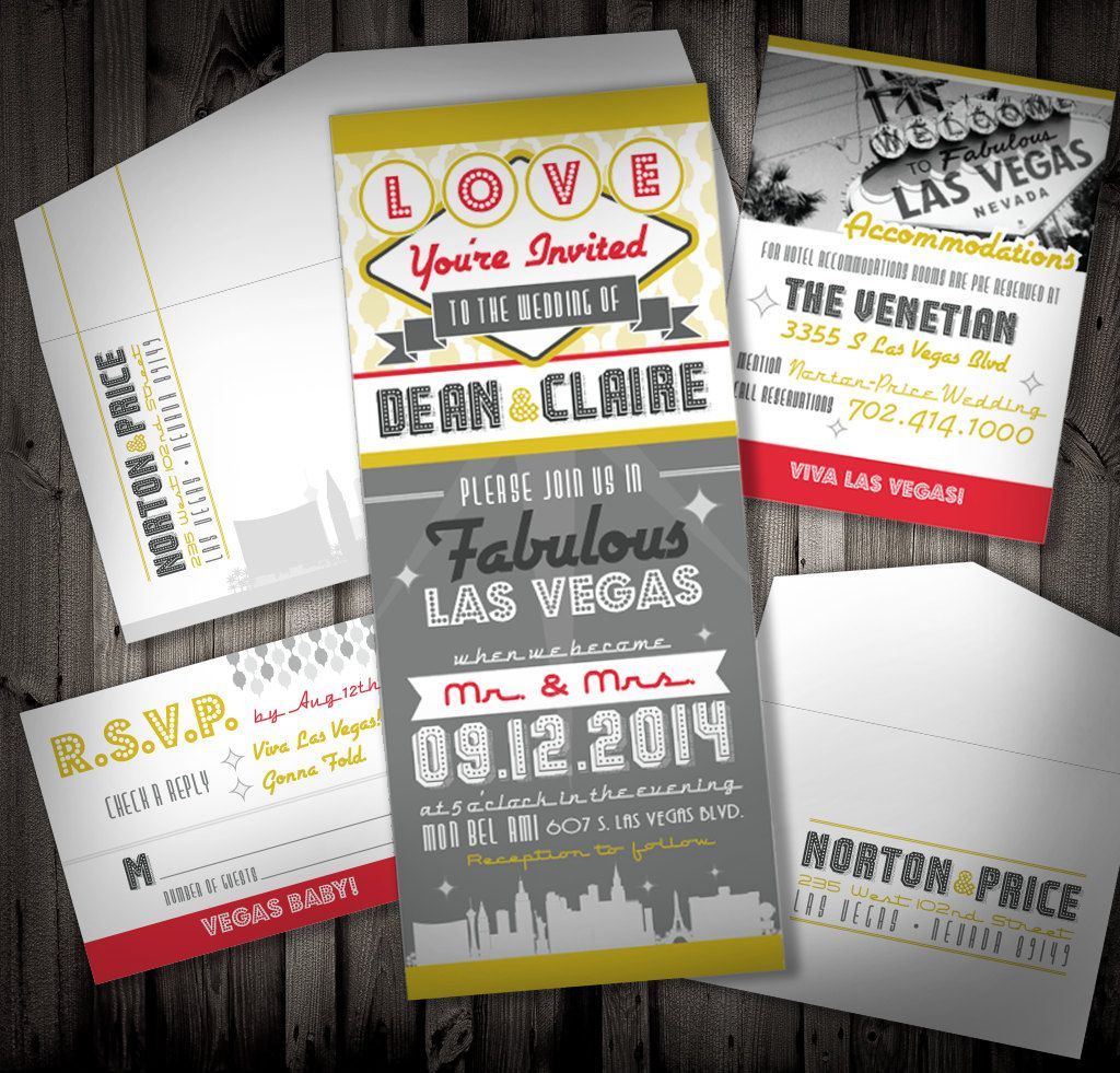 Viva Las Vegas Wedding Invitation SAMPLE by NimbiDesign on Etsy