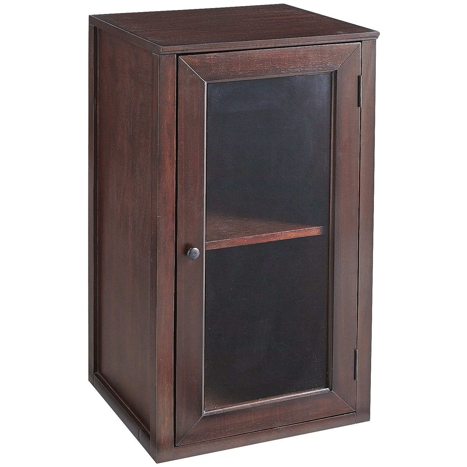 Wells Hutch With Glass Door Mahogany Brown Cabinets