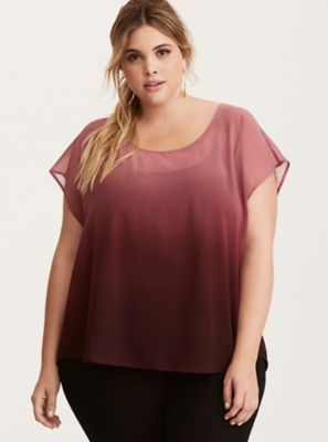 1ccb00622e9064 Red Sheer Ombre Chiffon Blouse in 2019 | Products | Blouse, Tunic ...