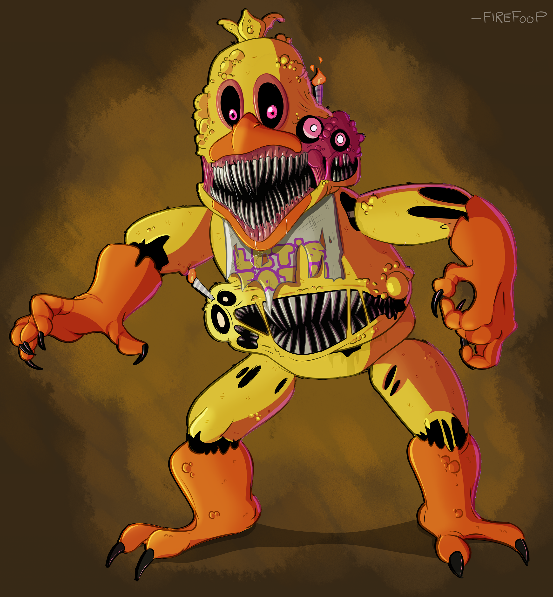 5 Nights At Freddy's Chica wow!>>literally all i can see here is sanstrap   fnaf book