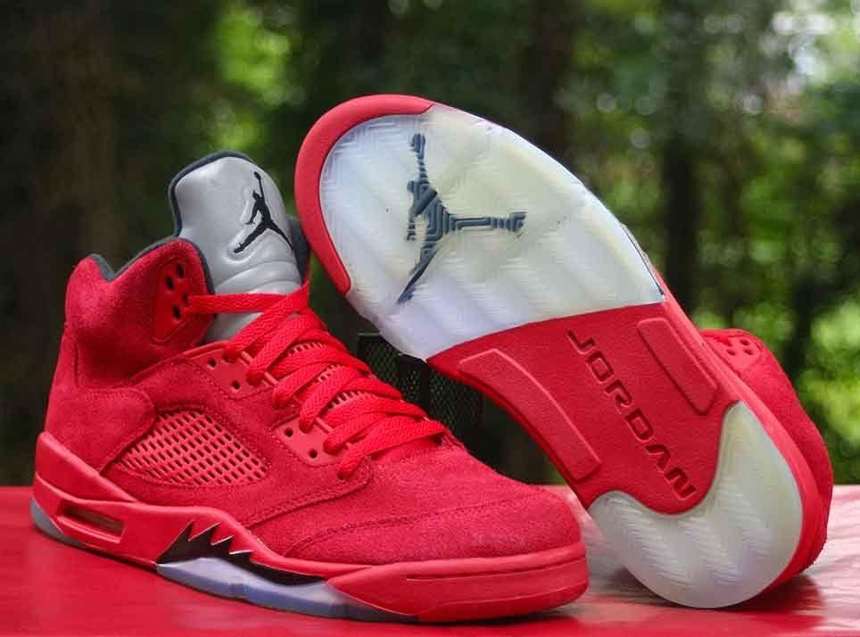 competitive price 22a34 4e65d Nike Air Jordan 5 Retro Red Suede Flight Suit University Red Men s Size  10.5  Jordan  BasketballShoes