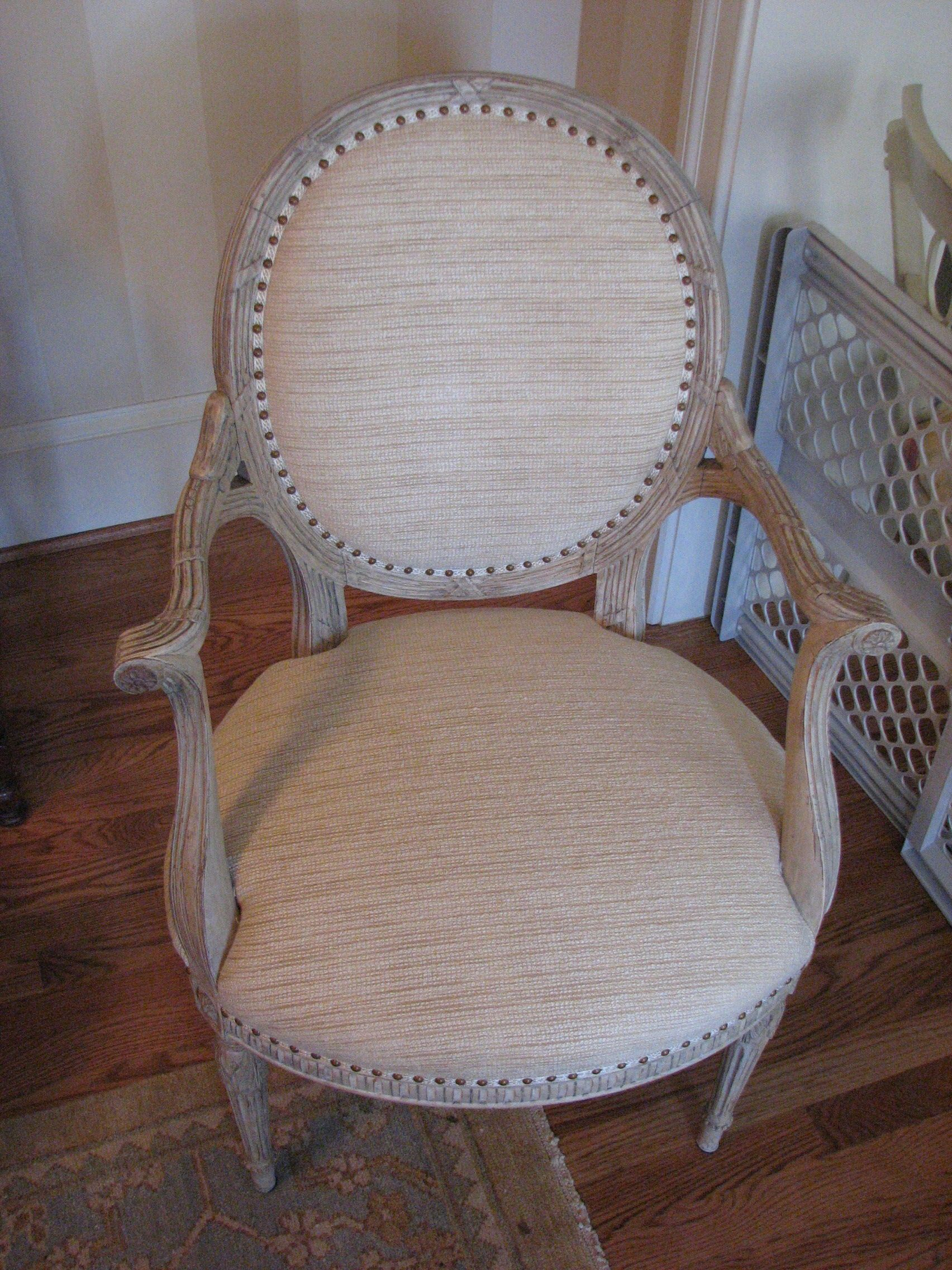 lovely reupholstered chair with ribbon and nailhead accent. Custom ...