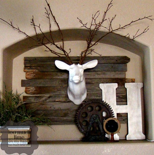 Rustic Industrial Mantle U0026 Ceramic Deer Head 3 Copy
