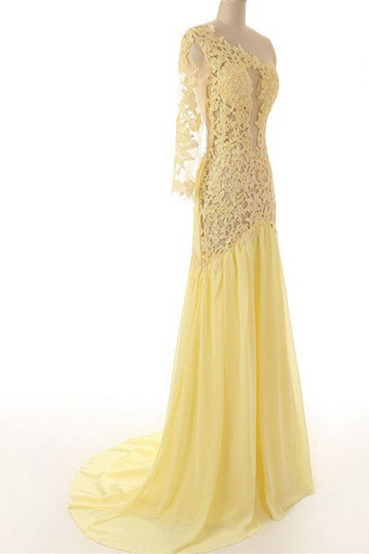 Lace chiffon daffodil long prom dresses evening dresses ed