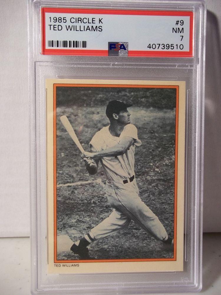1985 circle k ted williams psa nm 7 baseball card 1 mlb