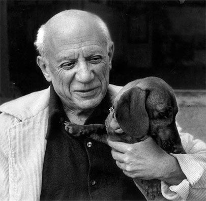Apparently this dog (lump, pronounced loomp in german, meaning rascal) became one of Picasso's best friends.  They both died in April 1973, a week apart. <3