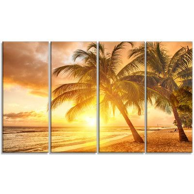 DesignArt 'Bright Sunset at Barbados Island' 4 Piece Graphic Art on Wrapped Canvas Set